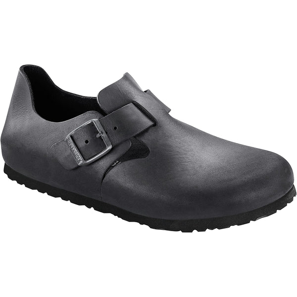 Birkenstock Men's London Oiled Leather Classic Footbed in Black