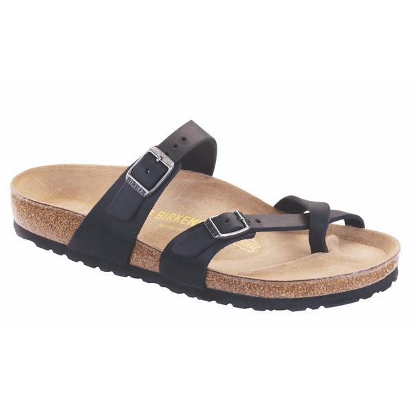Birkenstock Women's Mayari Oiled Leather Classic Footbed Sandal in Black