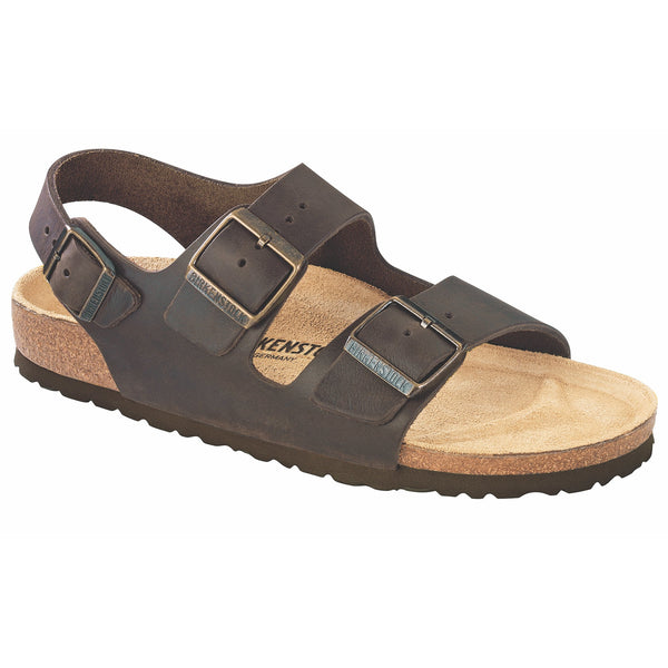 Birkenstock Milano Oiled Leather Classic Footbed Sandal in Habana