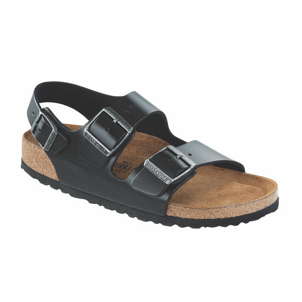 Birkenstock Milano Smooth Leather Soft Footbed Sandal in Amalfi Black