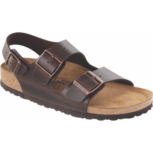 Birkenstock Milano Smooth Leather Soft Footbed Sandal in Amalfi Testa Di Moro