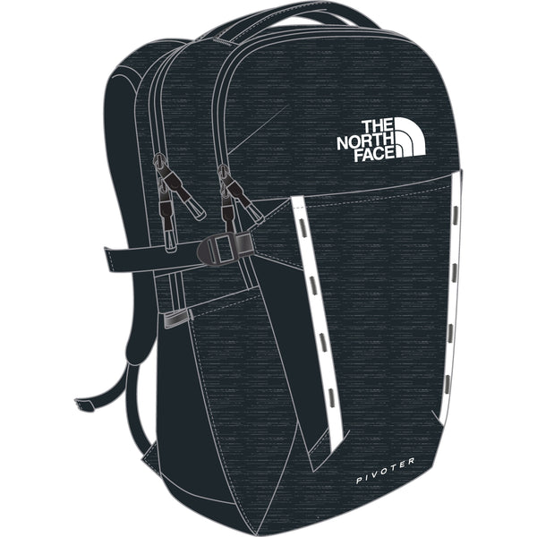 THE NORTH FACE PIVOTER BACKPACK IN AVIATOR NAVY LIGHT HEATHER/TNF WHITE