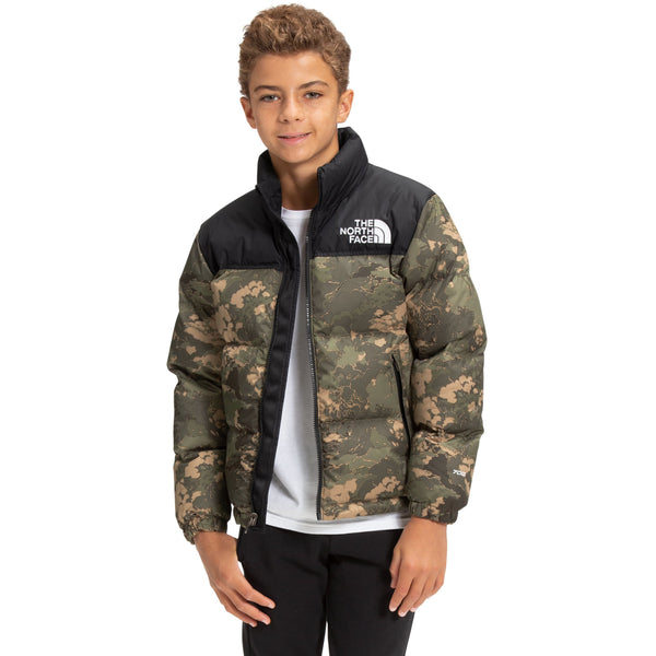 The North Face Youth 1996 Retro Nuptse Jacket in New Taupe Green Tonal Cloud Camo Print
