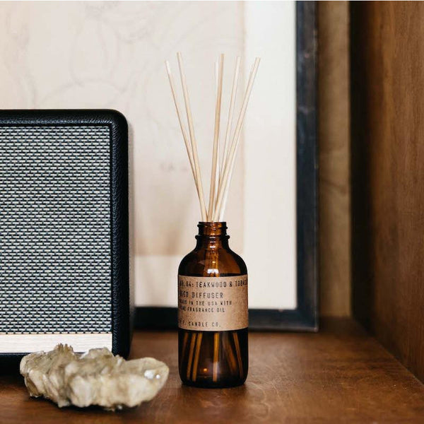 P. F. CANDLE CO 3.5 OZ REED DIFFUSER - TEAKWOOD AND TOBACCO