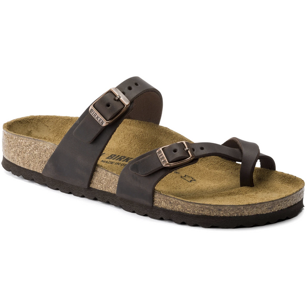 BIRKENSTOCK WOMEN'S MAYARI OILED LEATHER CLASSIC FOOTBED SANDAL IN HABANA