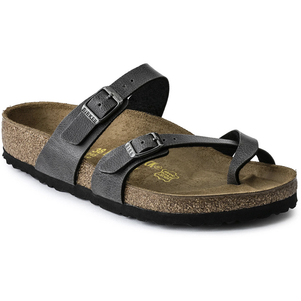 BIRKENSTOCK WOMEN'S MAYARI BIRKO-FLOR CLASSIC FOOTBED SANDAL IN PULL UP ANTHRACITE