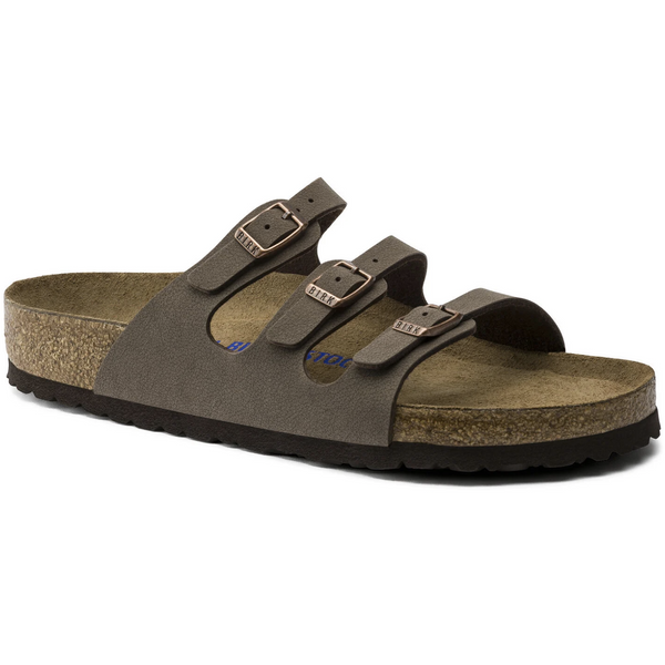 Birkenstock Women's Florida Birkibuc Soft Footbed Sandal in Mocha