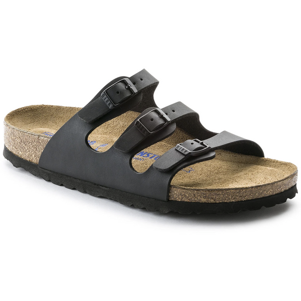 Birkenstock Women's Florida Birko-Flor Soft Footbed Sandal in Black