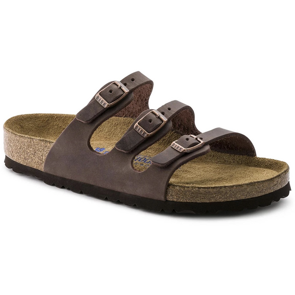 BIRKENSTOCK WOMEN'S FLORIDA OILED LEATHER SOFT FOOTBED SANDAL IN HABANA