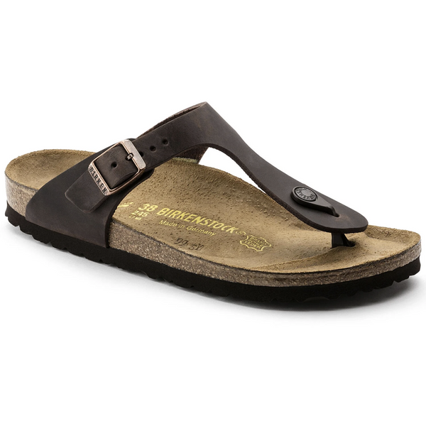 Birkenstock Gizeh Oiled Leather Classic Footbed Sandal in Habana