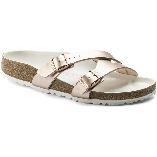 BIRKENSTOCK WOMEN'S YAO LUX BIRKO-FLOR CLASSIC FOOTBED SANDAL IN ELECTRIC METALLIC COPPER