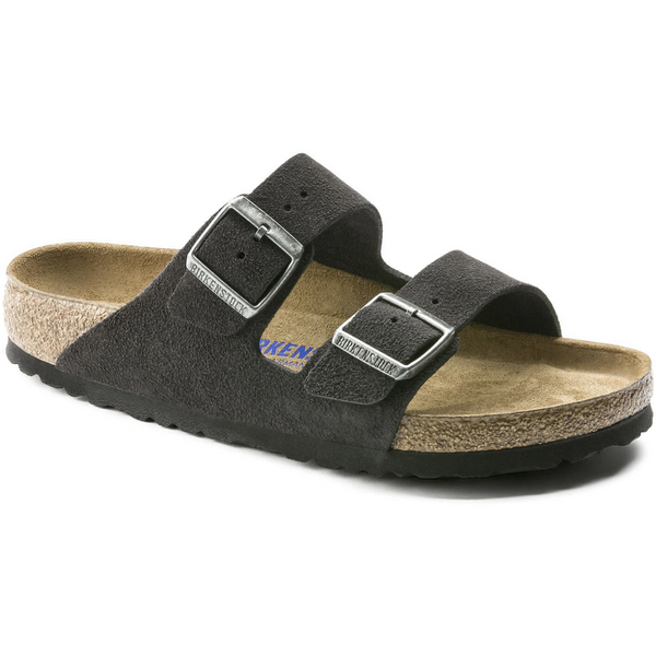 Birkenstock Women's Arizona Suede Leather Soft Footbed in Velvet Grey