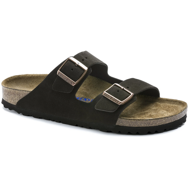 Birkenstock Arizona Suede Leather Soft Footbed Sandal in Mocha
