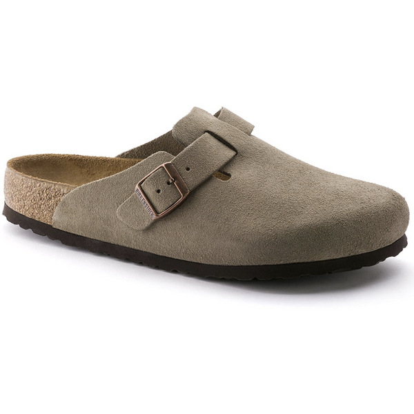 Birkenstock Men's Boston Suede Leather Soft Footbed Clog in Taupe