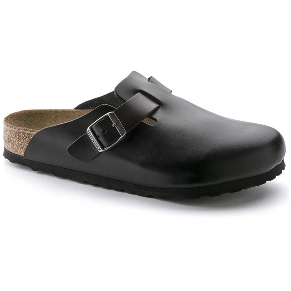 Birkenstock Women's Boston Smooth Leather Soft Footbed Clog in Amalfi Black