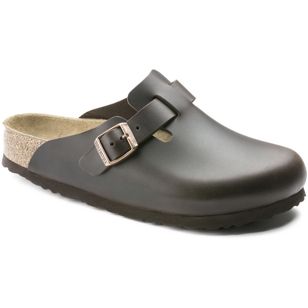 Birkenstock Men's Boston Smooth Leather Soft Footbed Clog in Amalfi Testa Di Moro