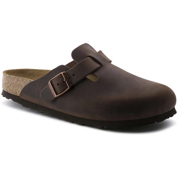 Birkenstock Men's Boston Oiled Leather Soft Footbed Clog in Habana