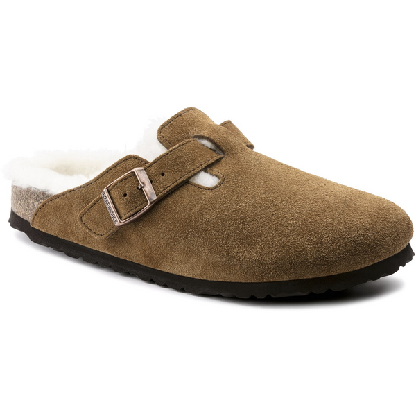 Birkenstock Women's Boston Shearling Suede Leather Clog in Mink