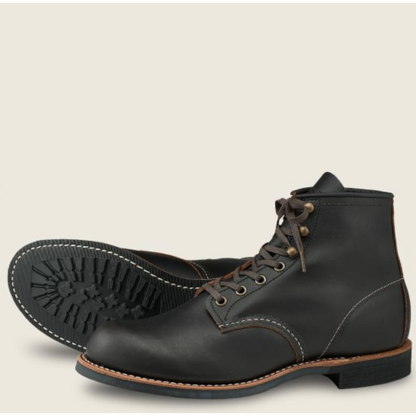"RED WING MEN'S BLACKSMITH 6"" BOOT IN BLACK PRAIRIE LEATHER"