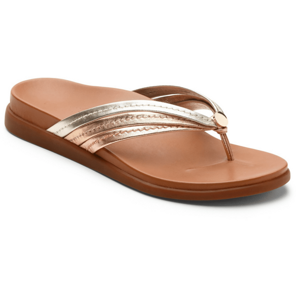 VIONIC WOMEN'S PALM CATALINA TOE-POST SANDAL IN MIXED METALLIC