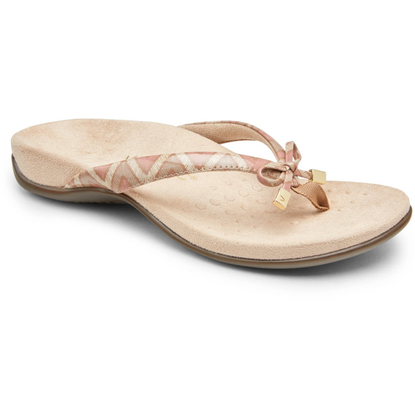 VIONIC WOMEN'S BELLA II TOE-POST SANDAL IN DUSTY PINK CHEVRON