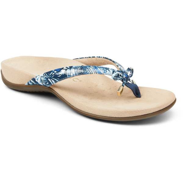 VIONIC WOMEN'S BELLA II TOE-POST SANDAL IN BLUE PALM