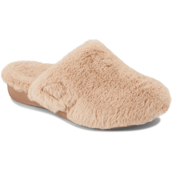 VIONIC WOMEN'S INDULGE GEMMA PLUSH SLIPPER IN LIGHT TAN