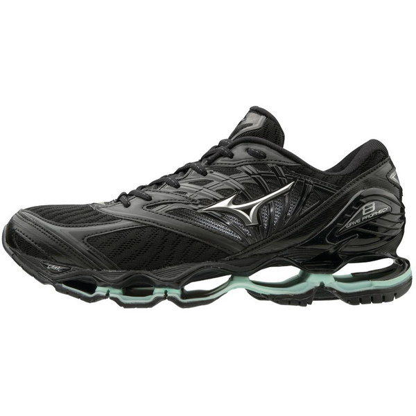 MIZUNO WOMEN'S WAVE PROPHECY 8 IN BLACK SILVER