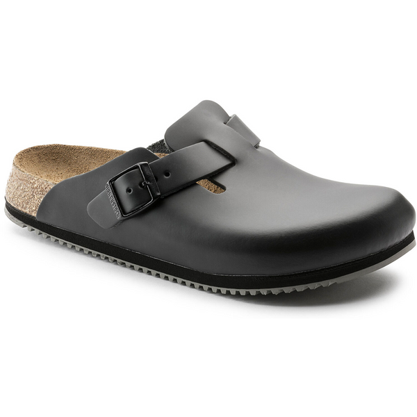 Birkenstock Boston Leather Super Grip Classic Footbed Clog in Black
