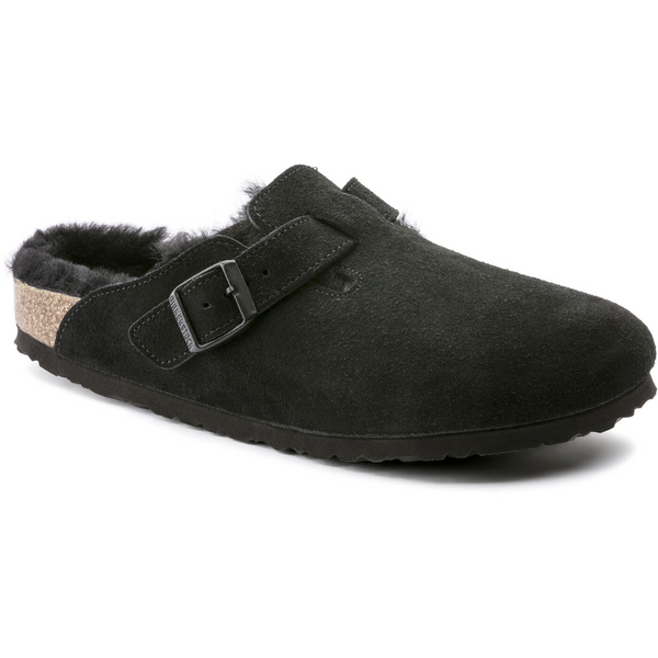 Birkenstock Women's Boston Shearling Suede in Black