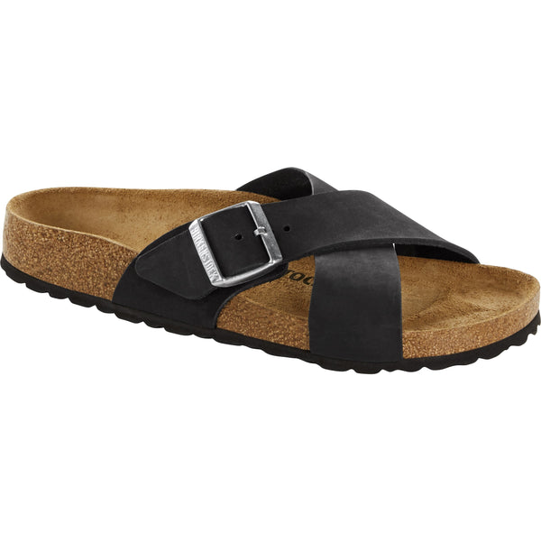 BIRKENSTOCK WOMEN'S SIENA NUBUCK LEATHER CLASSIC FOOTBED IN BLACK