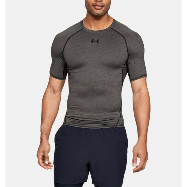 UNDER ARMOUR MEN'S SHORT SLEEVE COMPRESSION SHIRT IN CARBON HEATHER / BLACK