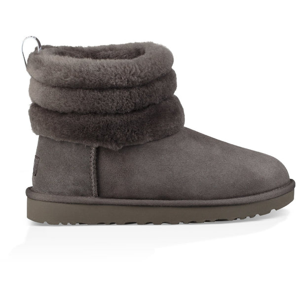 UGG WOMEN'S FLUFF MINI QUILTED BOOT IN CHARCOAL