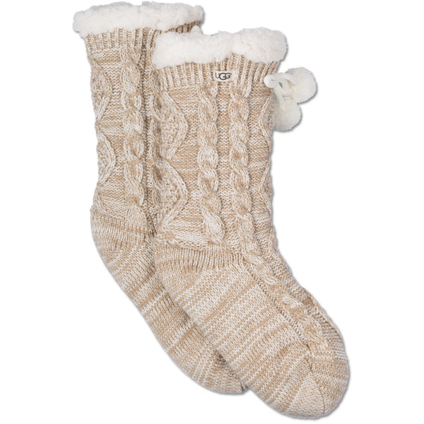 UGG WOMEN'S POM POM FLEECE LINED CREW SOCK IN CREAM