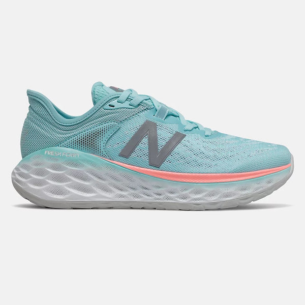 NEW BALANCE WOMEN'S FRESH FOAM MORE V2 IN SEA SALT WITH NEWPORT BLUE