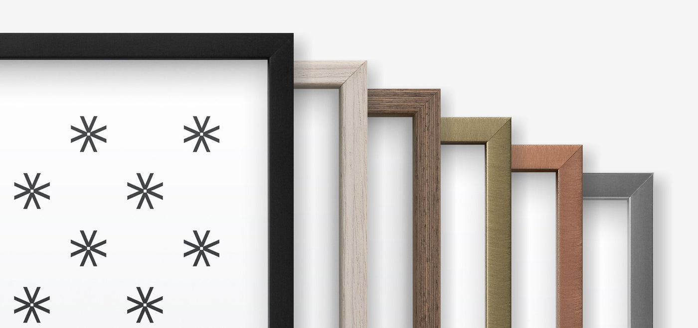 Picture frames from Vossington in the colors black, white wood, exotic wood, gold, bronze, and silver