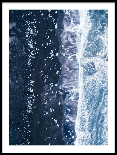 Vossington wall art and aerial photography of an ocean scenery with a black sand beach and blue waves at Jökulsárlón in Iceland