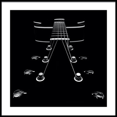 Vossington wall art and fine art photography of an abstract black guitar