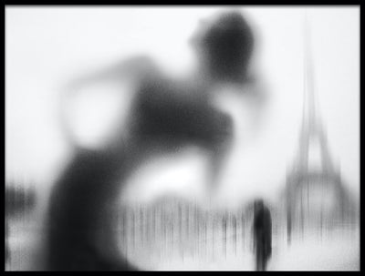 Vossington wall art and fine art photography of the silhouette of a woman in front of the Eiffel Tower in Paris, France