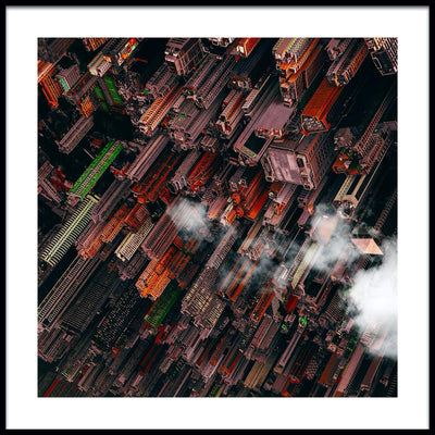 Vossington wall art and fine art photography of an inverted urban scenery with colorful buildings and dense architecture in Hong Kong, China