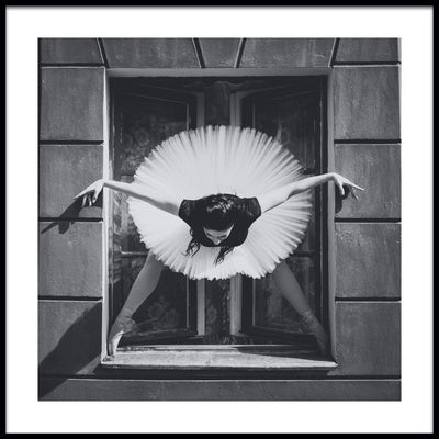 Vossington wall art and fine art photography of a ballet dancer striking a pose in a window