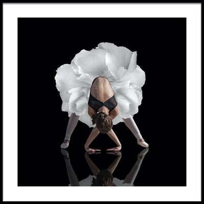 Vossington wall art and fine art photography of a ballerina in an elegant pose with a floral skirt