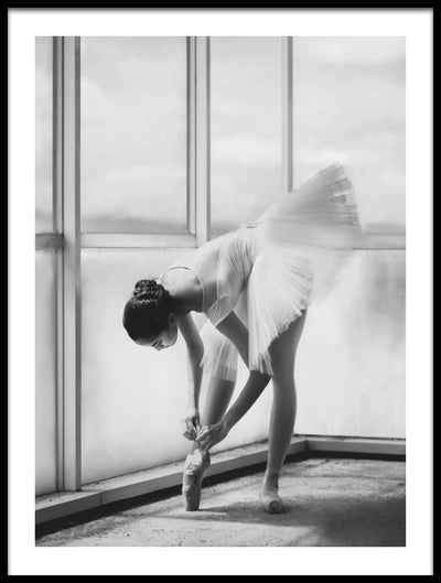 Vossington wall art and fine art photography of a ballet dancer in front of a large window preparing to go on stage