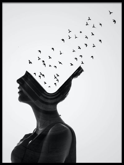 Vossington wall art and fine art photography of a surreal concept of a woman with birds flying out of her head