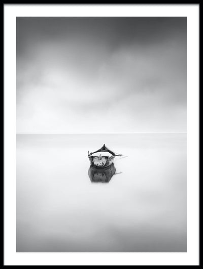 Vossington wall art and fine art photography of an ocean scenery with a boat in a peaceful sea