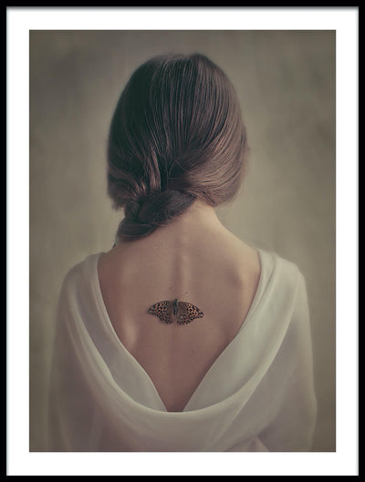 Vossington wall art and fine art photography of a woman with a butterfly on her back