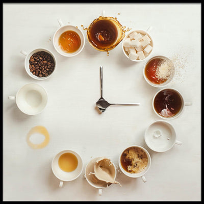 Vossington wall art and fine art photography of several cups of coffee, tea, sugar, and coffee beans in the shape of a clock