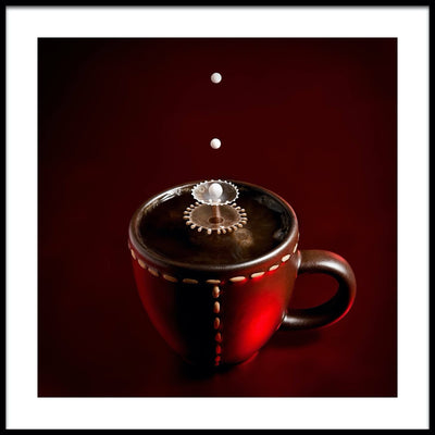 Vossington wall art and fine art photography of drops of milk falling into a cup of coffee