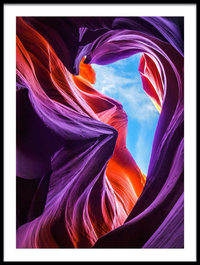 Vossington wall art and fine art photography of a colorful mountain scenery in Antelope Canyon, Arizona