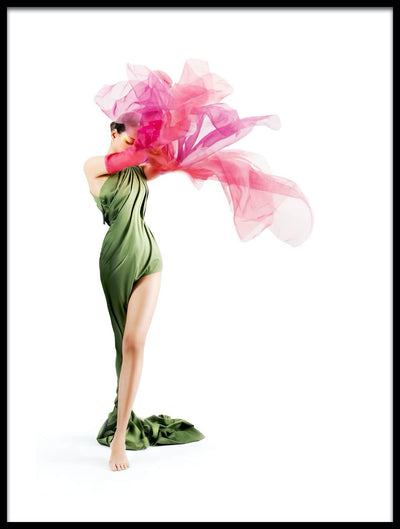 Vossington wall art and fine art photography of a woman with a green dress in a flower-shaped pose